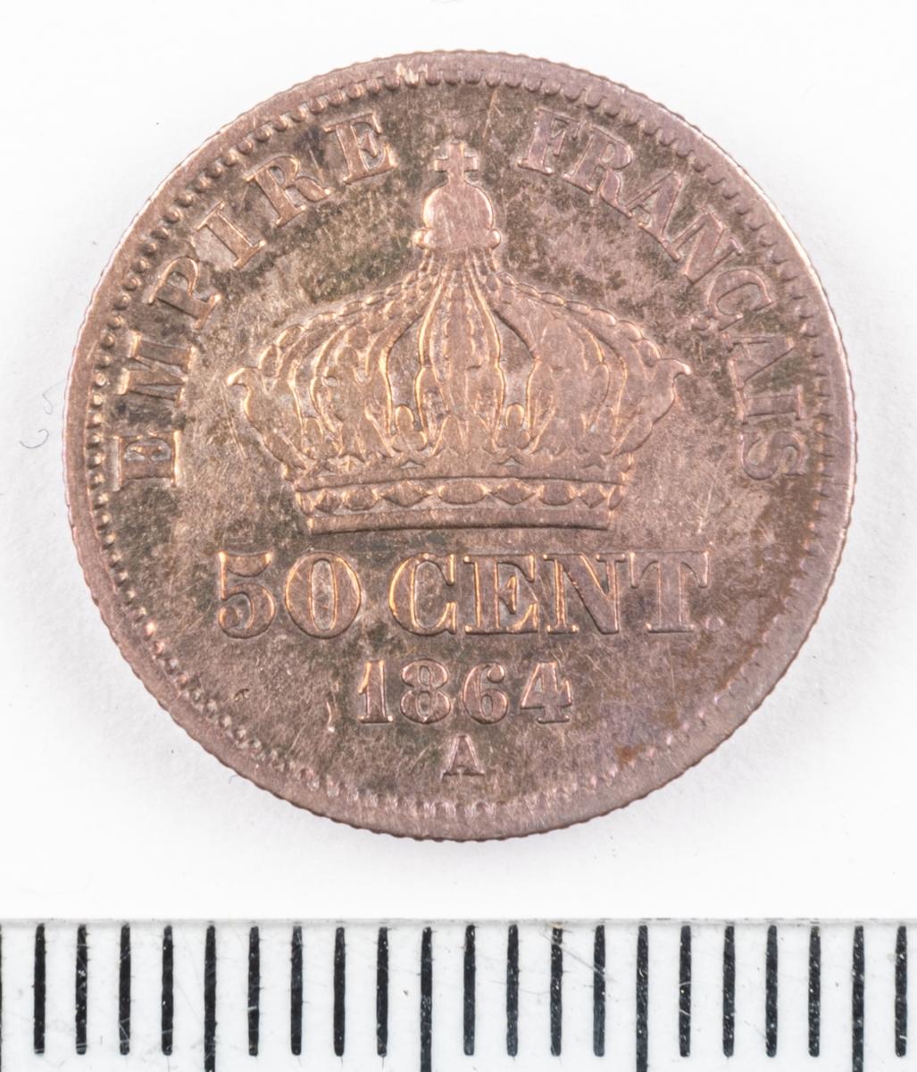 Mynt Frankrike 1864 50 Centimes.