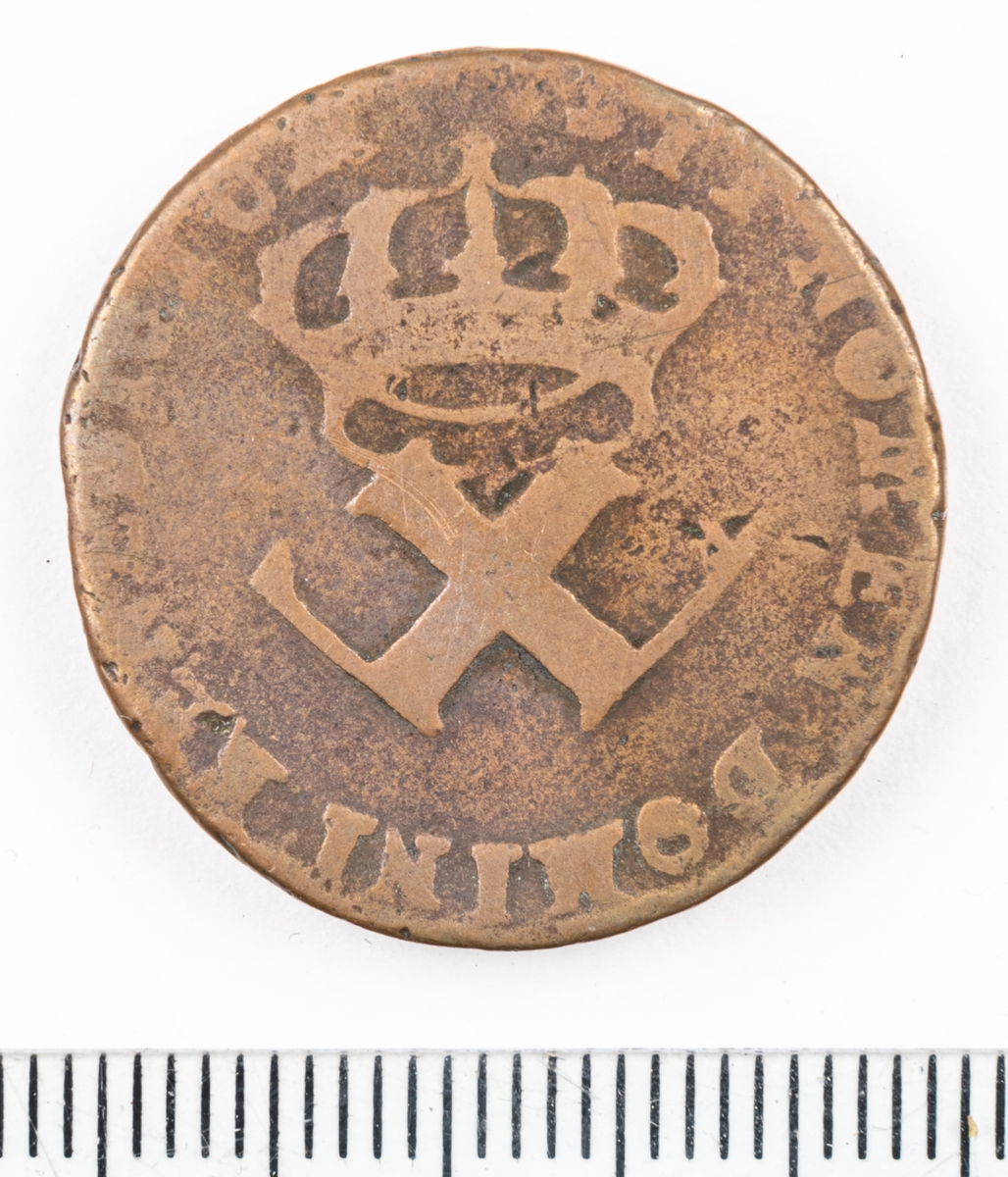 Mynt Franska Kolonier 1721, 6 Denier.