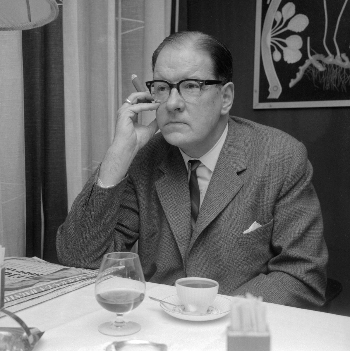 Författare, översättare, journalist och litteraturforskare är några titlar som kan knytas till den intellektuelle Sven Stolpe. Under perioden 1964-1972 tjänstgjorde han som läroverkslektor i Mjölby. Här porträtterad 1965.