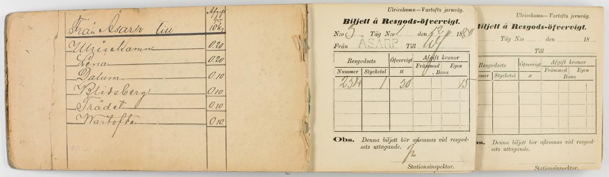 """Biljettblock i bokform med oval etikett på framsidan med handskriven text. Överst står det """"Bagage bok"""". Övrig text är svårläst. Biljettblocket innehåller biljetter för resgodsövervikt vid Ulricehamn-Vartofta järnväg. Först sidan är ifylld. På insidan av pärmen finns en handskriven tabell med avgifter och vilka sträckor från Åsarp taxan gäller."""
