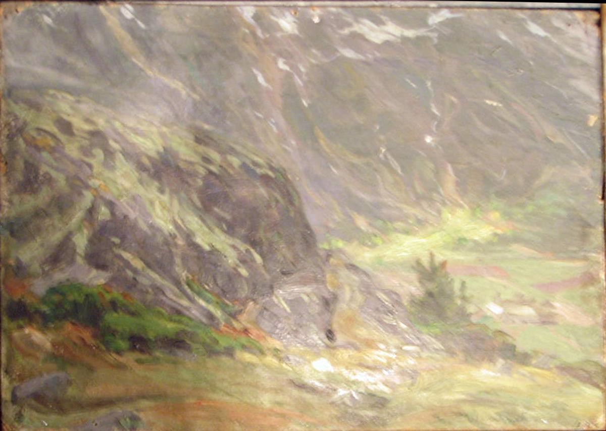 Rektangulært. Skisse; grønt landsk., utsyn over dal m. høye fjell