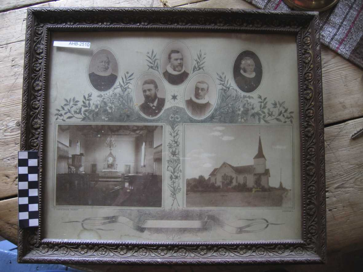 Fotografier montert på litografert paspartut. Hemnes kirke alter og ekstriør, kirkens prester i ovale rammer. Ramme i tre med påstøpt kunstmasse (rankemotiv) og glass