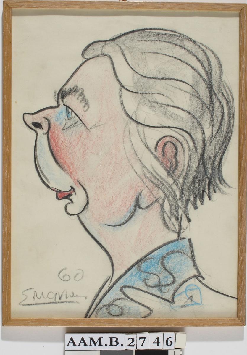 Dameportrett, karikatur.