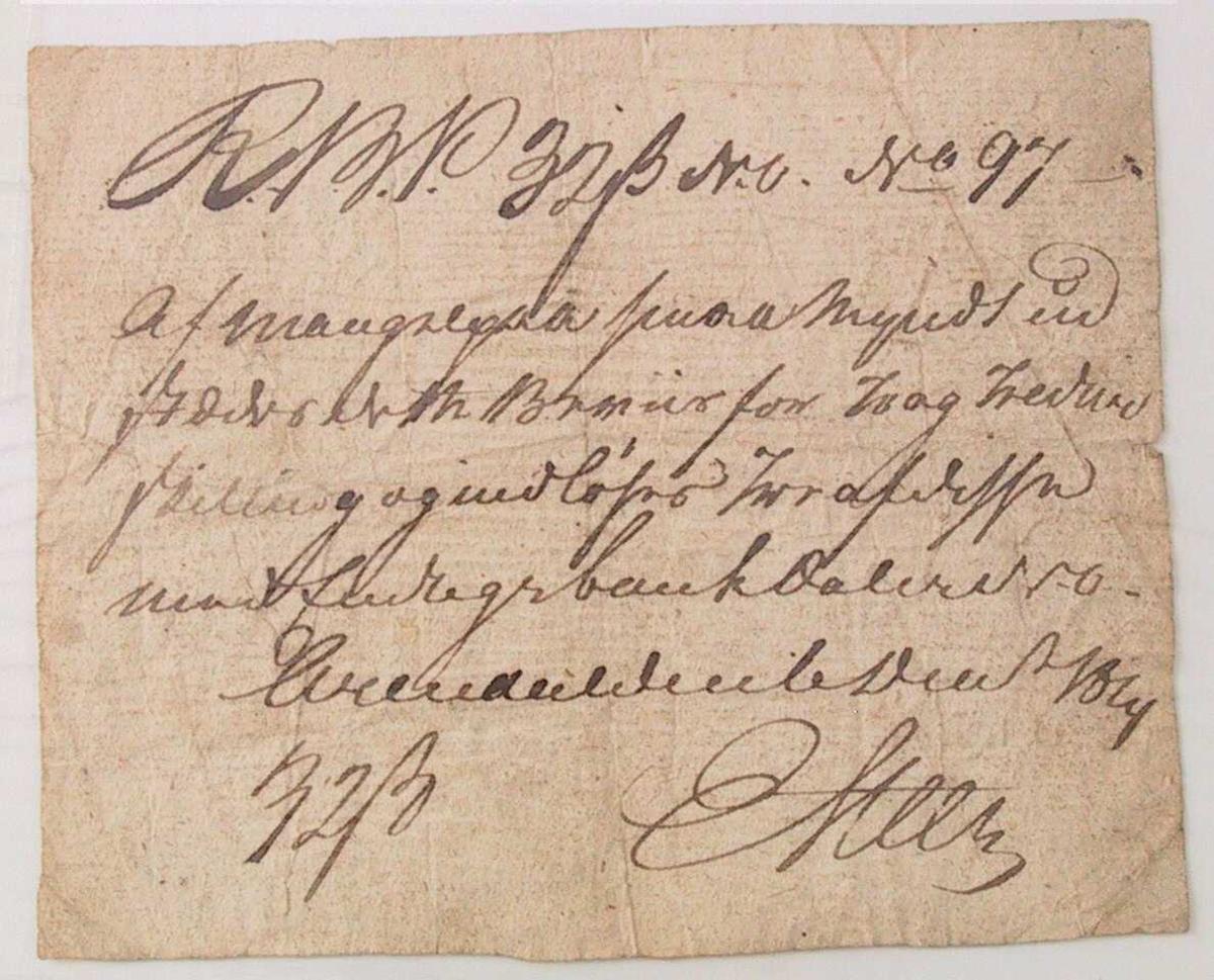Håndskrevet seddel. 32-rigsbankskilling.
