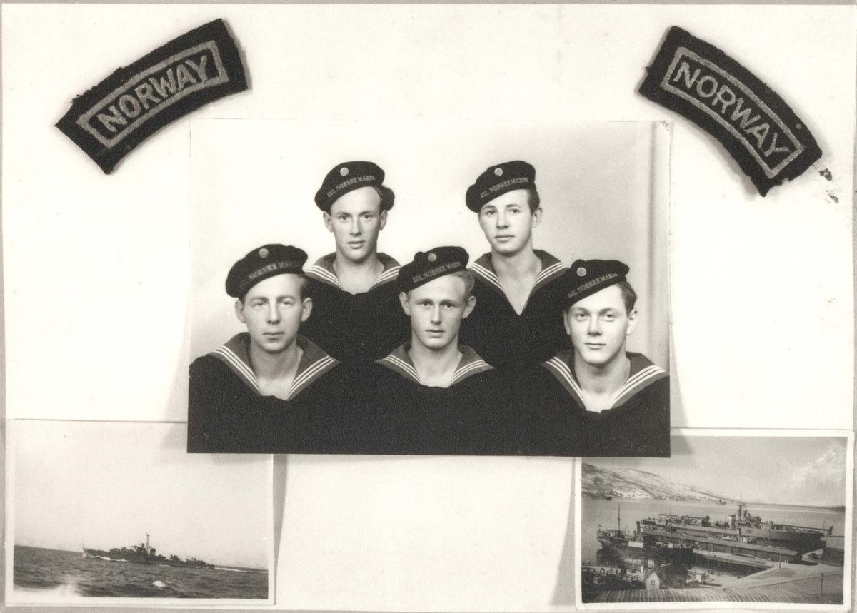 """Jageren """"Stord"""", billedmontasje gitt av Willy Michalsen, Sandnes, som tjenestegjorde om bord i 1948/-49."""