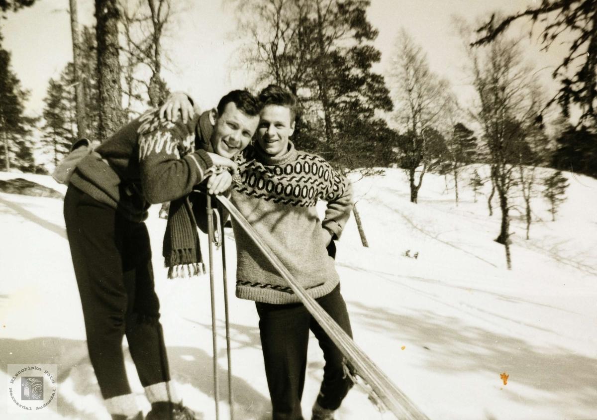 Brødrene Olav og Svein Ottar Leland på skitur, Refsnes i Grindheim.