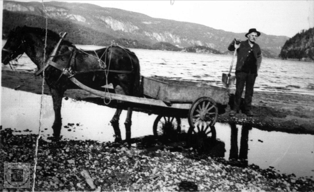 """Arbeidskar med hest og """"mykekjerre"""", Ågedalstrand Bjelland."""