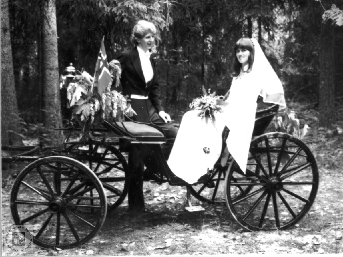 Brudeparet Kjell Håvard og Inga Lise Høgetveit. Marnardal.