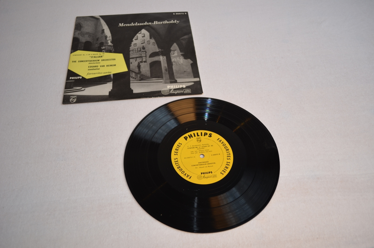 Grammofonplate med etui i papp. På pappetuiet er det bilete av ein borggård i stein. Biletet er i svart-kvit medan teksten står i ei gul rubrikk.