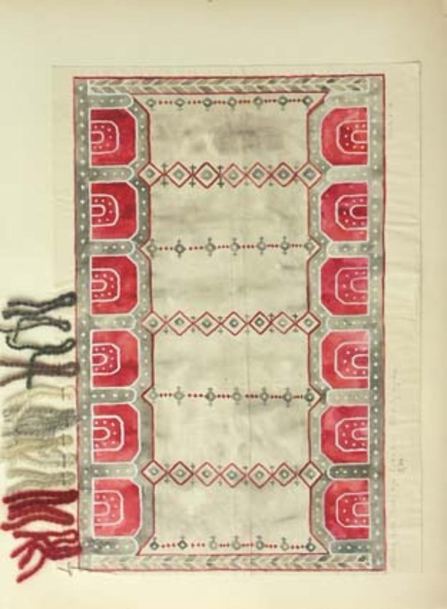 """Sju skisser med förslag till kormatta i tät rya till Söraby kyrka.GHKL 4098:1 Förslag till tät rya 2,50 (2,30) x 4,00 m Söraby kyrka. Skisstorlek ca 25 x 40 cm skala 1:10. Den här mattan vävdes upp och fotografi finns i pärmen """"Kyrkmattor - från Kronobergs läns hemslöjdsförening Växjö"""". Inspirerad av gammal dopfunt i kyrkan.GHKL 4098:2 Förslag till tät rya 2,50 x 4,00 m till Söraby kyrka. Skisstorlek ca 25 x 40 cm skala 1:10. """"Mönstret inspirerat av kyrkoporten! Det blå kan utbytas mot rött om bården mellan tak och väggar blir röd.""""Skissen är märkt med nr 1.GHKL 4098:3 Förslag till tät rya 2,50 x 4,00 m till Söraby kyrka. Skisstorlek ca 25 x 40 cm skala 1:10. """"Mönstret inspirerat av kyrkans gamla dopfunt. Det röda kan utbytas mot blått om bården mellan väggar och tak blir blå!""""Skissen är märkt med nr 2.GHKL 4098:4 Förslag till tät rya 2,50 x 4,00 m à 275:-/kvm till Söraby kyrka. Skisstorlek ca 25 x 40 cm skala 1:10. """"Mönstret inspirerat av kyrkans gamla dopfunt. Det röda kan utbytas mot blått om bården mellan väggar och tak blir blå!""""Skissen är märkt med nr 3.GHKL 4098:5 Förslag till tät rya 2,50 x 4,00 m till Söraby kyrka. Skisstorlek ca 25 x 40 cm skala 1:10. """"Mönstret inspirerat av kyrkans gamla dopfunt. Det blå kan utbytas mot rött om bården mellan väggar och tak blir röd!""""Skissen är märkt med nr 4.GHKL 4098:6Förslag till tät rya 2,50 x 4,00 m till Söraby kyrka. Skisstorlek ca 25 x 40 cm skala 1:10. """"(Förslag nr 4 omgjort i dessa färger)"""".GHKL 4098:7Förslag till tät rya 2,50 x 4,00 m till Söraby kyrka. Skisstorlek ca 25 x 40 cm skala 1:10. """"(Förslag nr 2 omgjort i dessa färger)"""".BAKGRUNDHemslöjden i Kronobergs län är en ideell förening bildad 1990. Den ideella föreningen ersatte Kronobergs läns hemslöjdsförening bildad 1915.Kronobergs läns hemslöjdsförening hade butiksverksamhet och en vävateljé med anställda väverskor och formgivare där man vävde på beställning till offentliga miljöer, privatpersoner och till olika utställningar.Hemslöjden i Kronobergs län har """