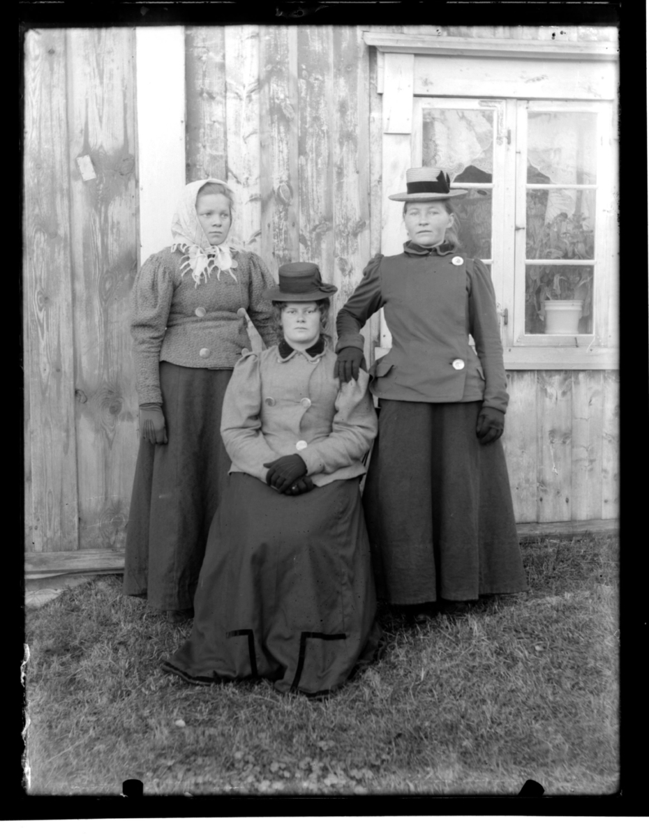 Tre unge kvinner fotografert ute