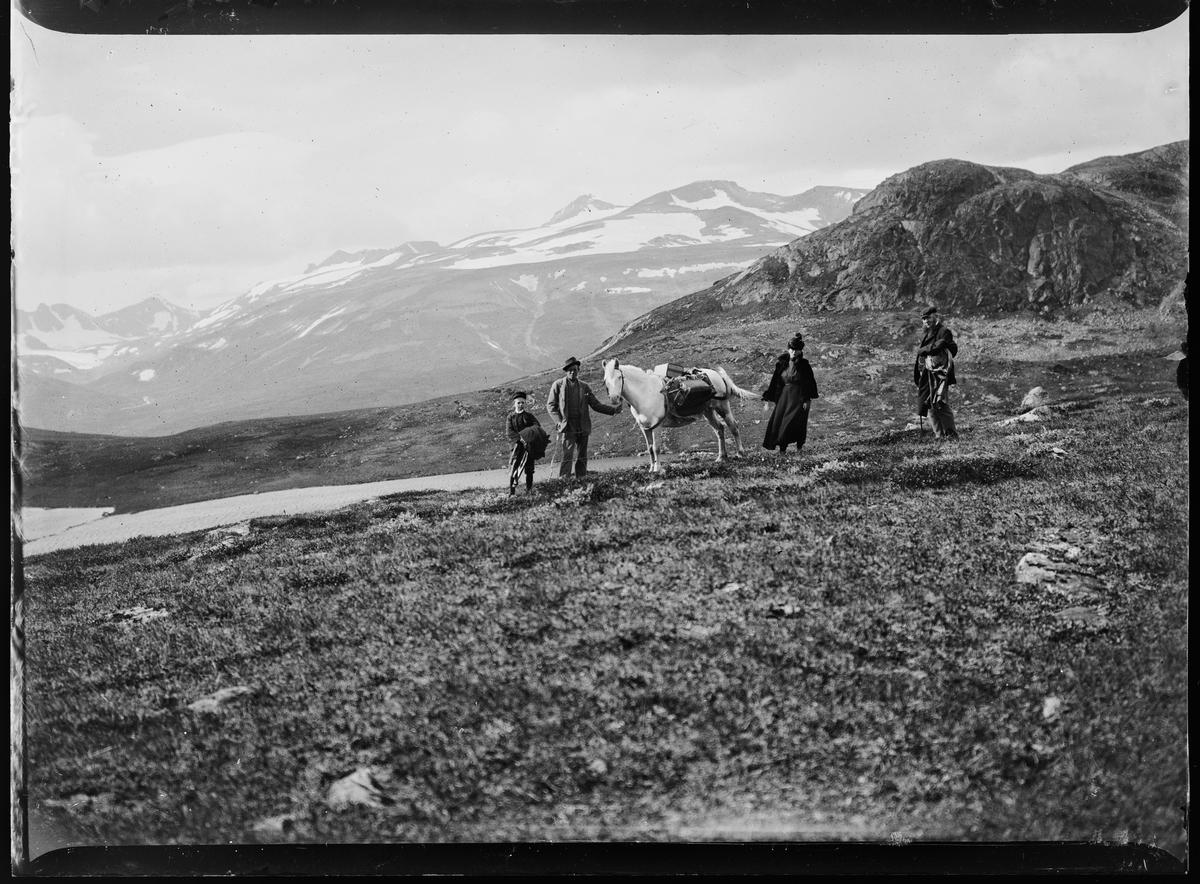 En dame, to menn og en gutt står sammen med en hest på fjellet. I bakgrunnen ses Rondane.