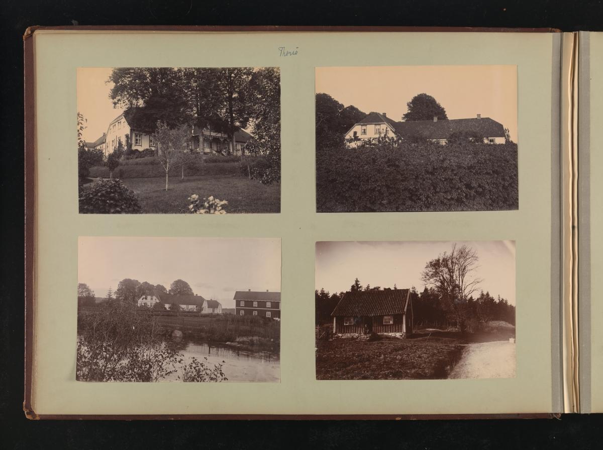 Albumside 29 av grågrønn kartong med fire bilder fra Thorsö.