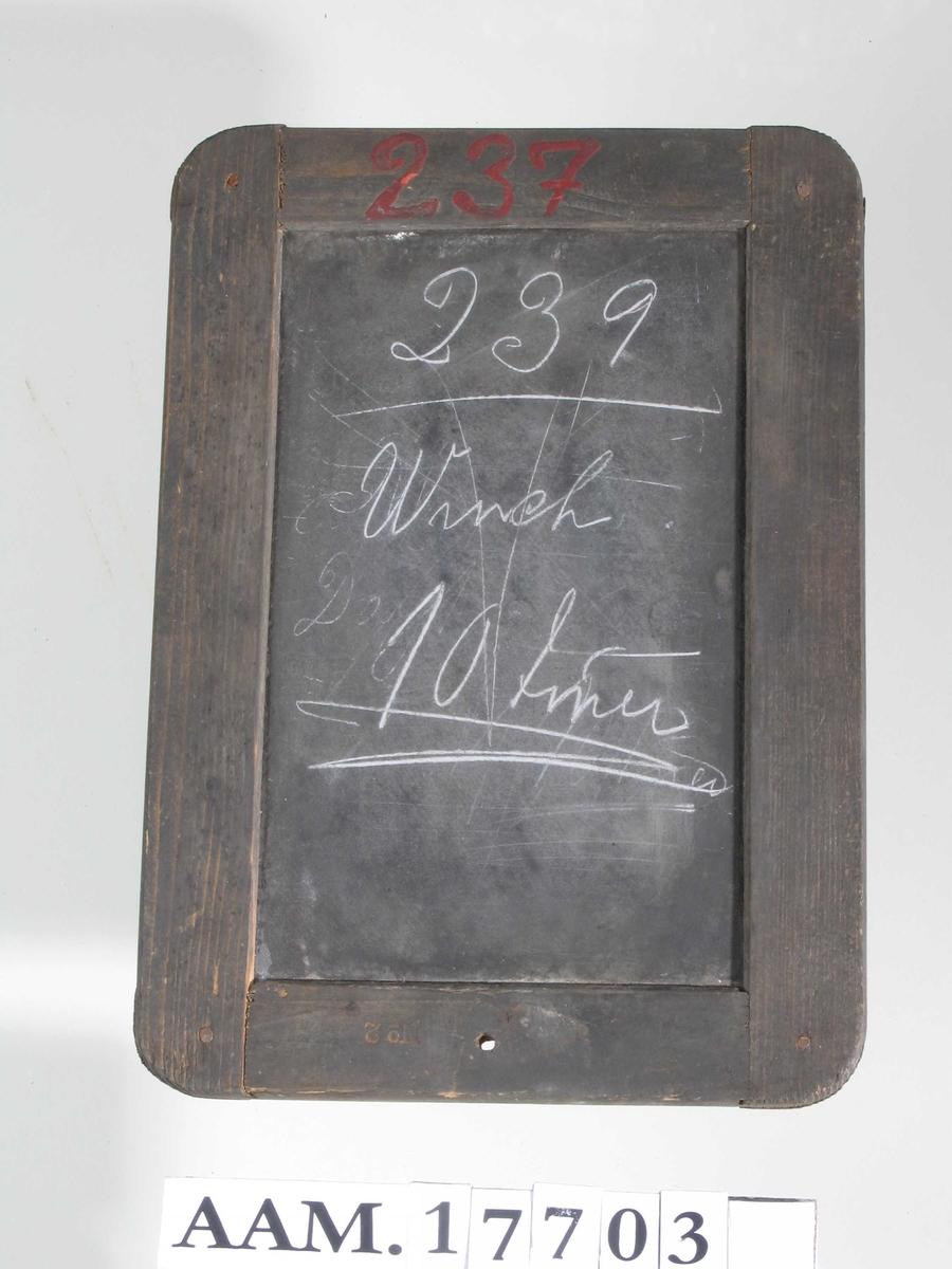 Tavle montert i mørknet treramme, innstemplet   No. 2.  Påmalt med rødt:  237.