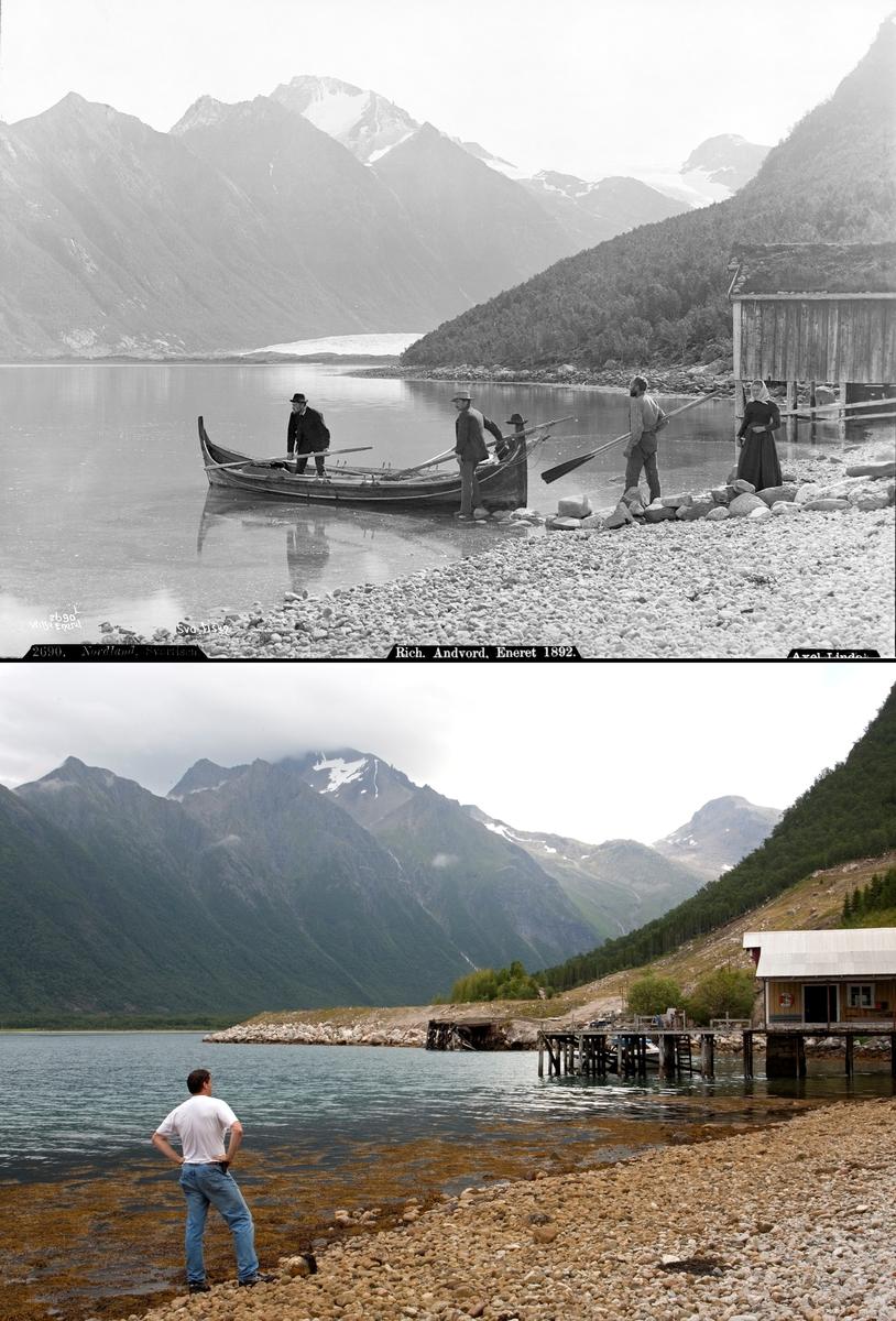 Refotografering. En kvinne og en mann står på land ved siden av et naust og ser på to menn ombord i en fembøring i 1889. Naustet er bygd om og mye av isbreen er borte i 2010. Fotografert 1888 og 2011.