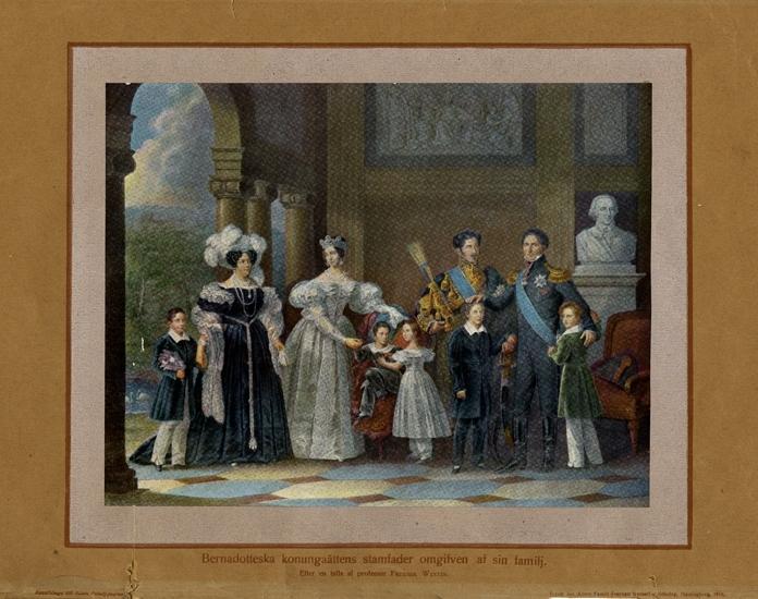Färglitografi (?), färgtryck (?). Karl XIV Johan med sin familj, efter tavla av Fr. Westin.