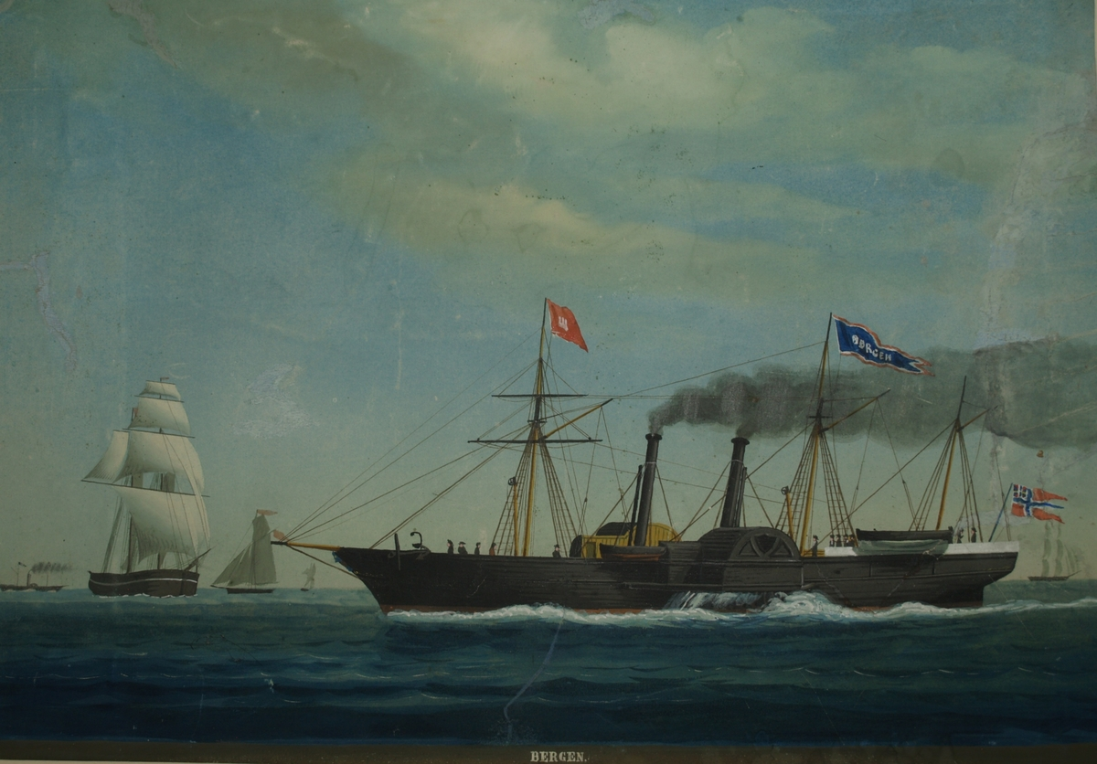 Hjuldampskipet BERGEN under fart med norsk unionsflagg akter. Ser flere seilskuter samt hjuldamperen.