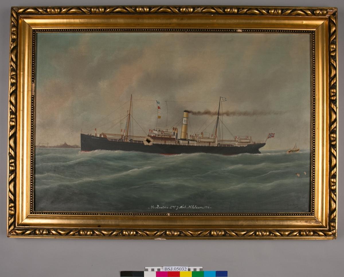 Skipsportrett avdampskipet BEATRICE på åpent hav, havneby i høyre horisont. Lave bølger og himmel med lette skyer. Seilskip i horisonten ved skipets akter. Antageligvis rederimerket til Hoff Helgesens rederi i Bergen. Skipet har norsk flagg i akter.