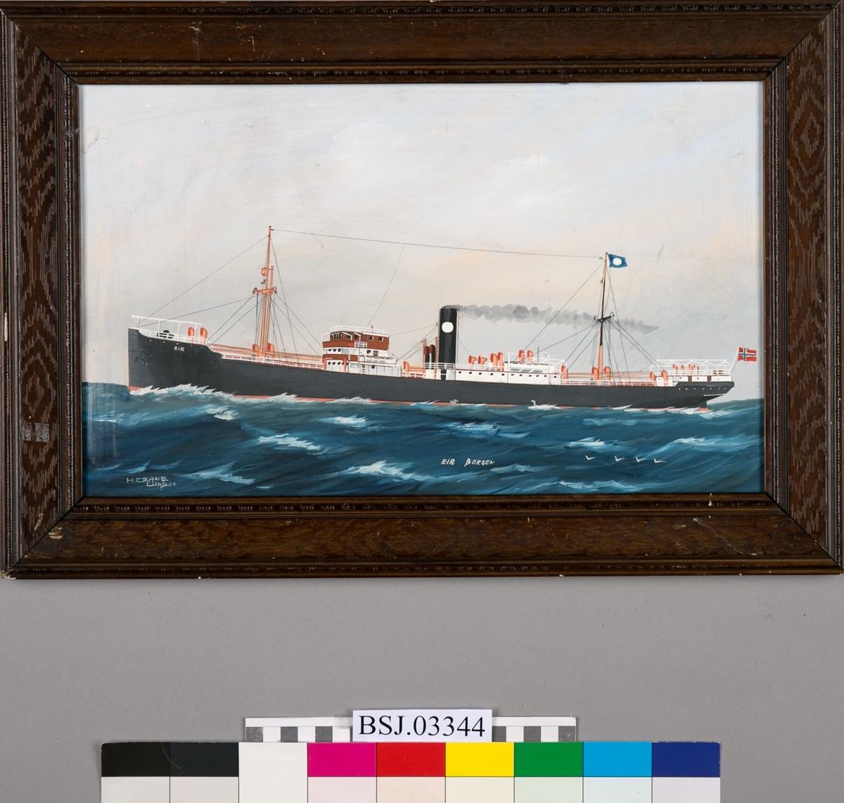 Skipsportrett av dampskipet EIR, på åpent hav. Store bølger og måker. Skipet har to master, vimpel med rederimerke. Baugen merket med EIR og skorsteinen bærer rundt hvitt rederimerke for rederiet Jacob R. Olsen. Norsk flagg i akter.