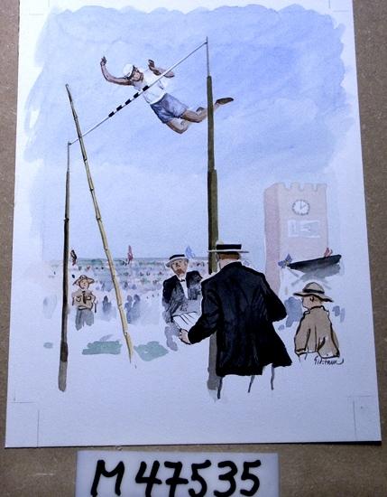 Akvarellmålning. Motivet föreställer en höjdhoppare på väg över ribban.  Två män i svarta kavajer syns i förgrunden. I fonden skymtar  man delar av Stockholms Stadion.
