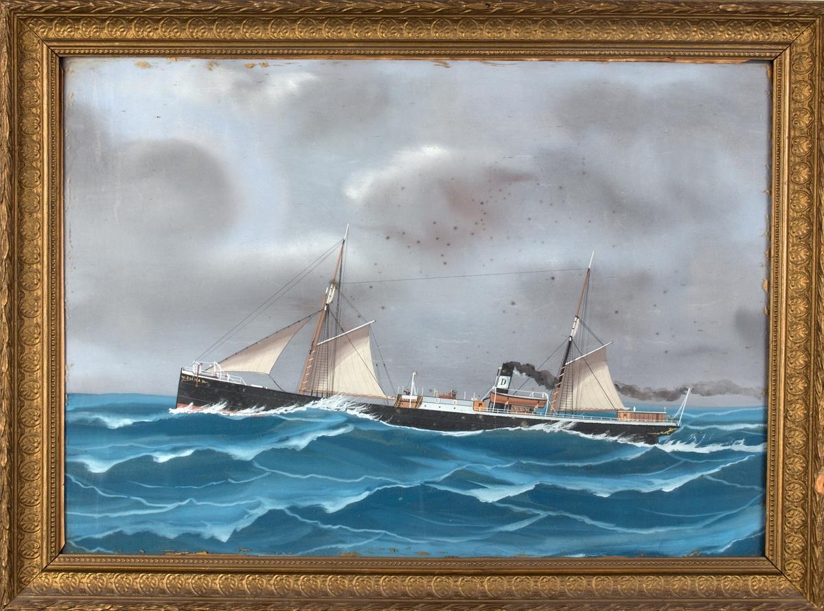 Skipsportrett av DS DIANA under fart i åpen sjø med seilføring.