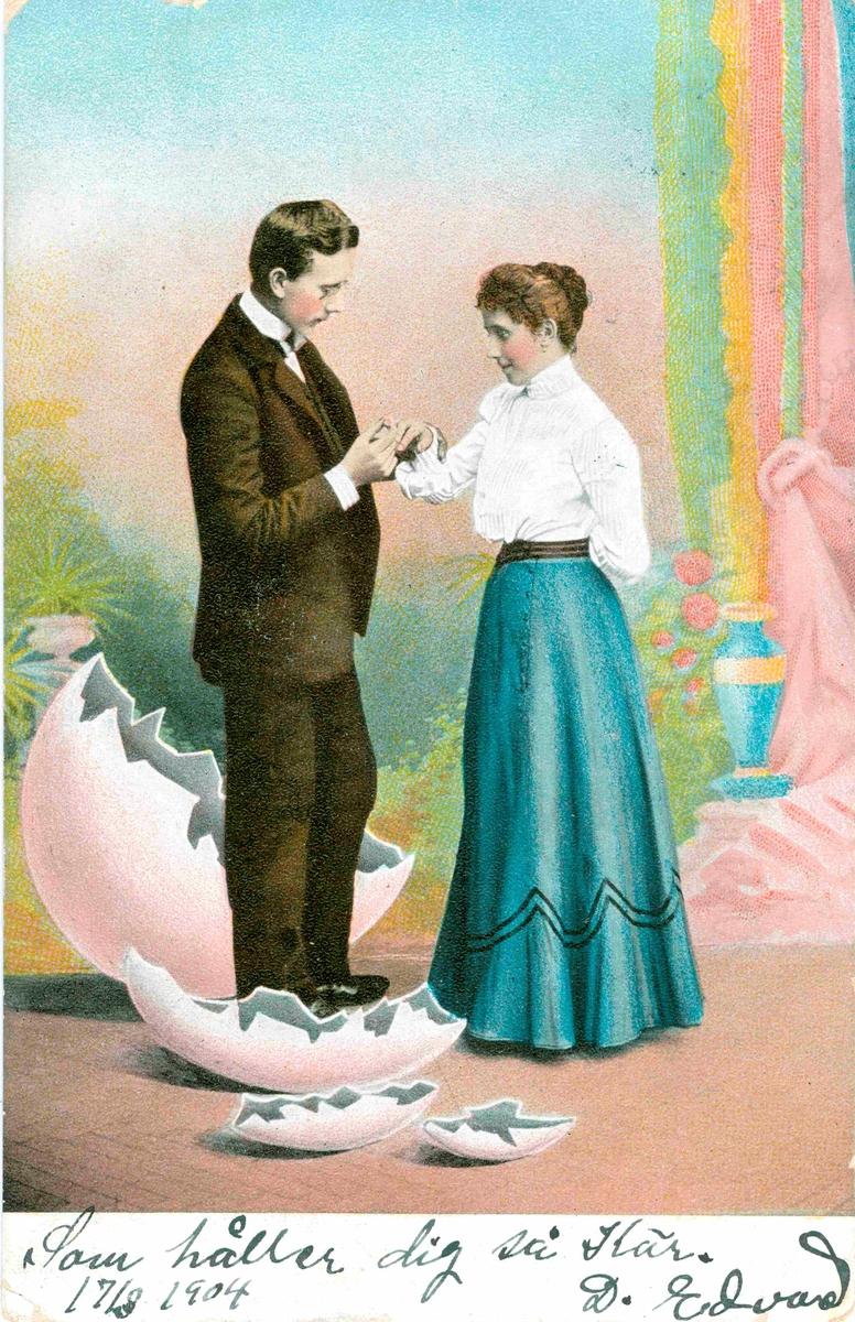 """Vykort skickat till Kristina Andersson, född i Böda, syster till N J Andersson, när hon bodde i USA. Kortet är skrivet av Edvard Nilsson i Böda. Nedtill på kortet står det skrivet: """"Som håller dig så kär. 17/8 1904. D Edvard."""