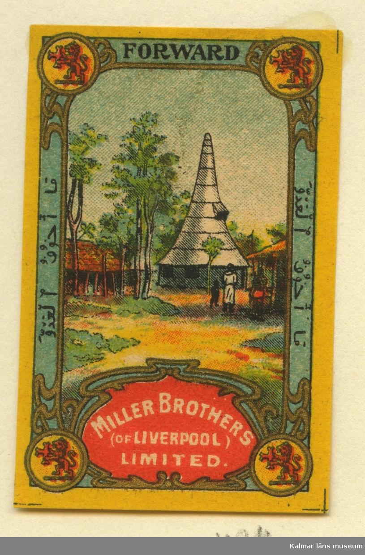 """Tändsticksetikett från Mönsterås Tändsticksfabrik, """"Miller Brothers (Of Liverpool) Limited"""""""