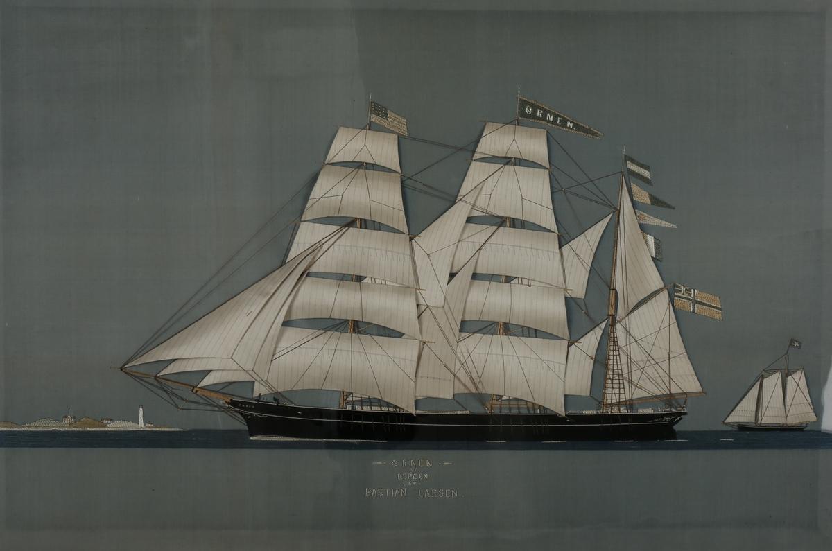 Skipsportrett av bark ØRNEN utført i Ostindien med unionsflagget akter, samt Det Amerikanske flagg i masten.