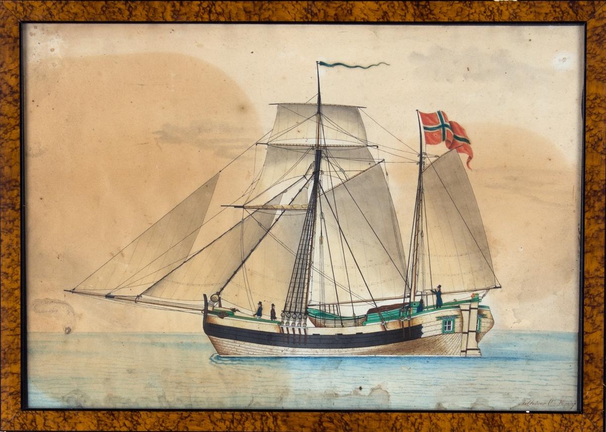 Skipsportrett av koff  JACOB & HERMAN med full seilføring med norsk flagg akter. På dekk sees bl.a. person med langkikkert.