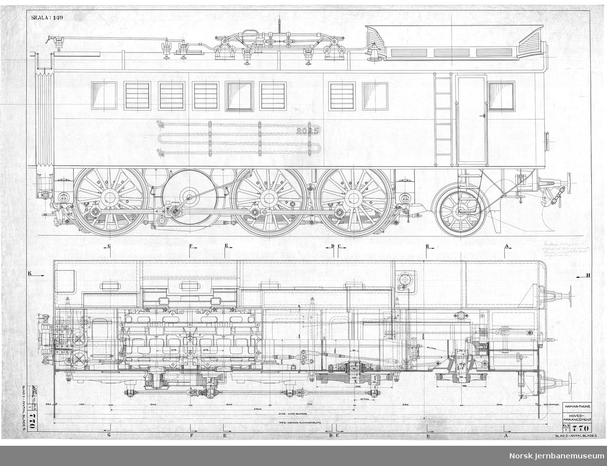 Hovedtegning, El 2 Norsk Maskinindustri 770-1 og -2 Hovedarrangement