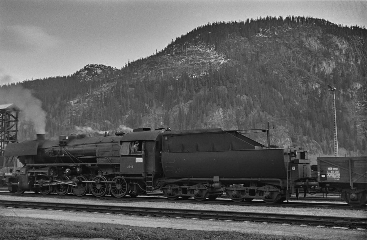 Damplokomotiv type 63a nr. 2343 med godstog til Rørosbanen på Støren stasjon.