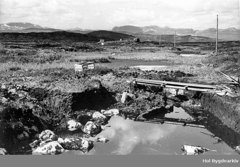 Holsanlegget, kraftutbygging, kanal, Olsrudvatn, Frosen, Stolsvatn, fjellandskap,
