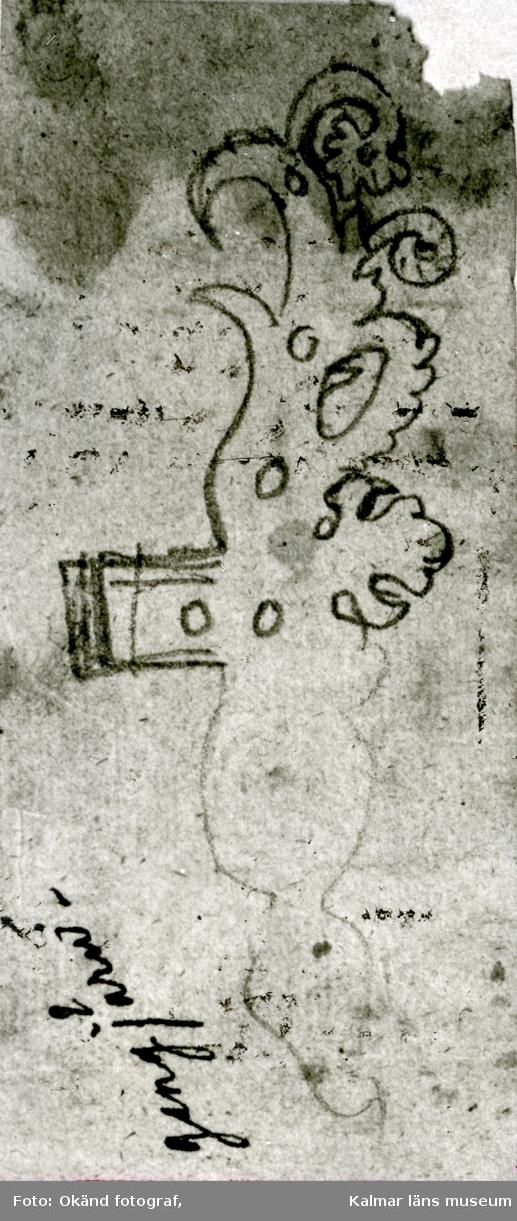 Kalmar slott: Kungsmakets dörr skisser av gångjärn och nyckelskylt. Skisser av Nils Månsson Mandelgren 1848. Två bilder till boken.