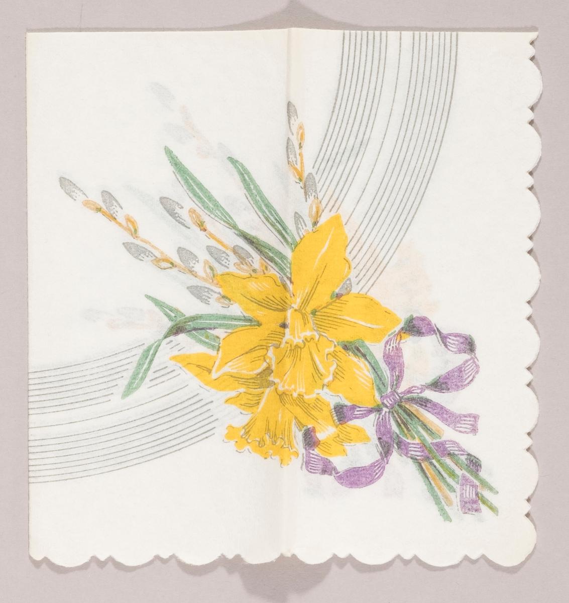 """En bukett med påskeliljer og grener med """"gåsunger"""" bundet med en lilla sløyfe. Rundt stripet mønster i bakgrunnen."""