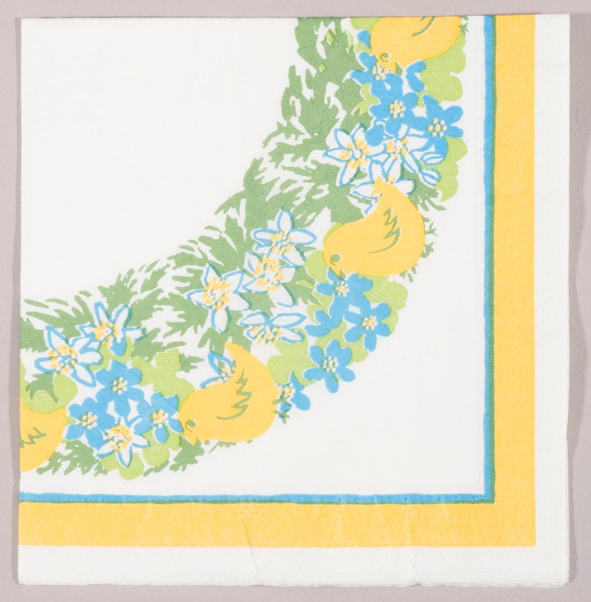 Kyllinger og hvite og blå blomster i en ring. Blå og gul kantstripe.