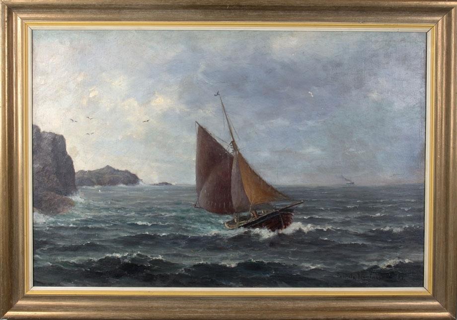 "Skipsbilde ""Langs norskekysten"". Ser et mindre seilfartøy med seilføring og et damskip i horrisonten."
