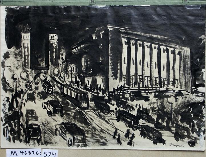 Tusch/lavyr. Stadsmotiv. Konserthuset i Stockholm, sett från Kungsgatan. I bakgrunden kan man  se de två Kungstornen.