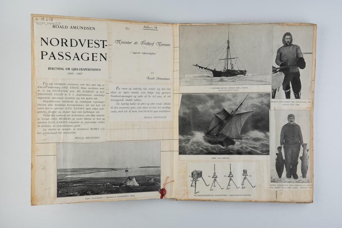 Utklippsbok med illustrasjoner fra Roald Amundsens Nordvest-Passagen