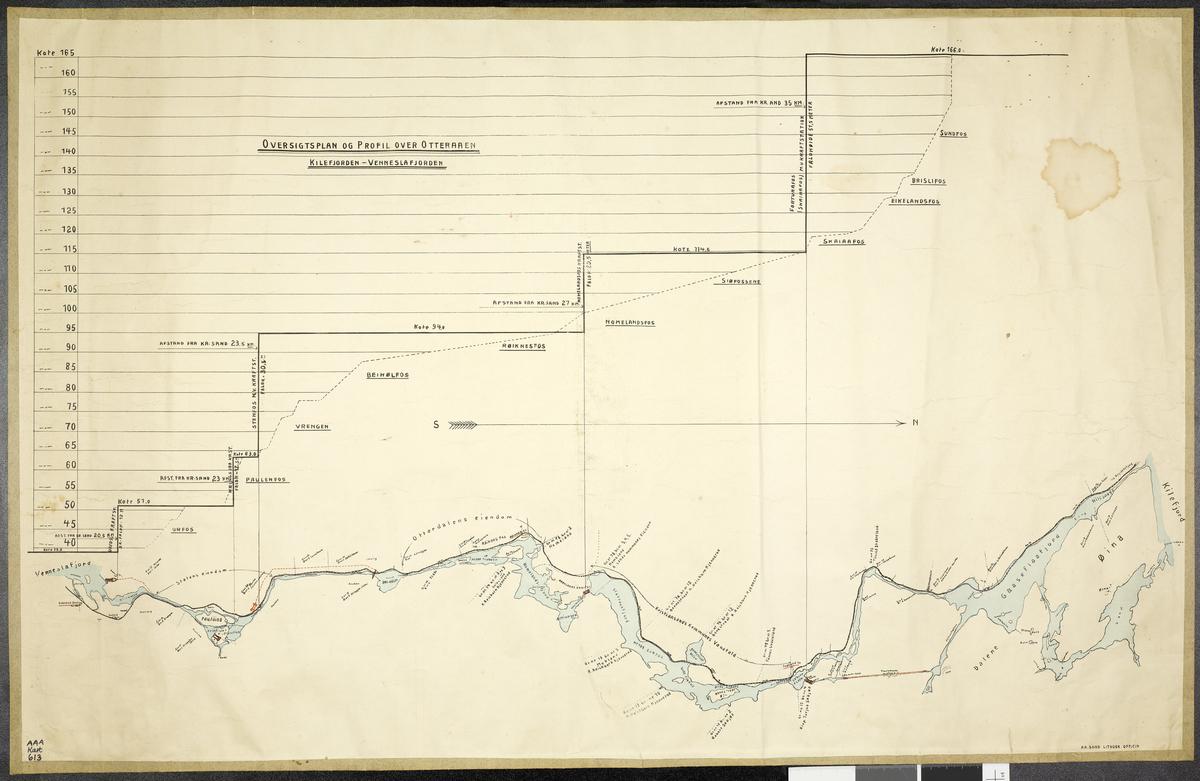 Oversigtsplan og Profil over Otteraaen, Kilefjorden - Venneslafjorden