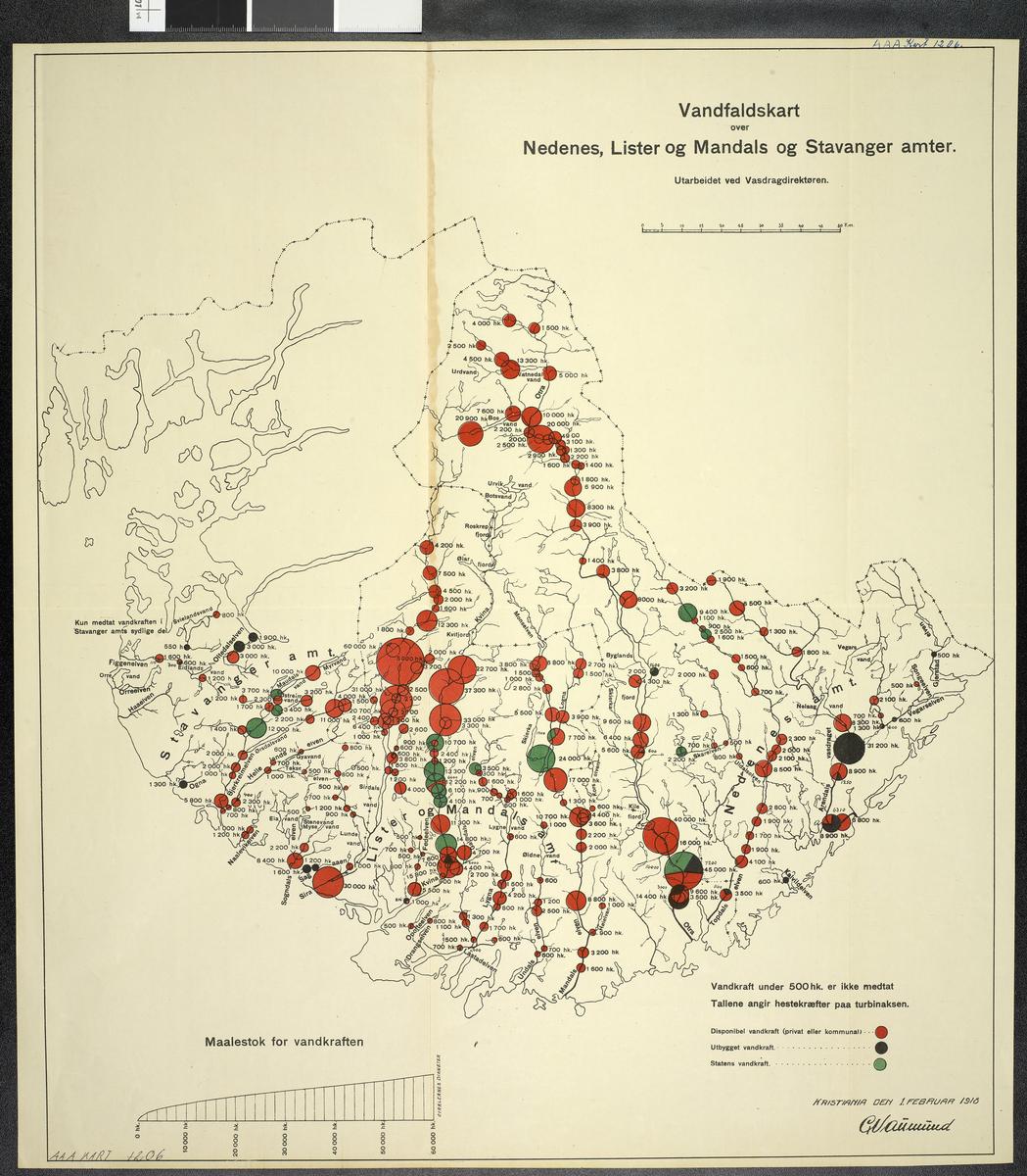 Vandfallskart over Nedenes, Lista og Mandels og Stavanger