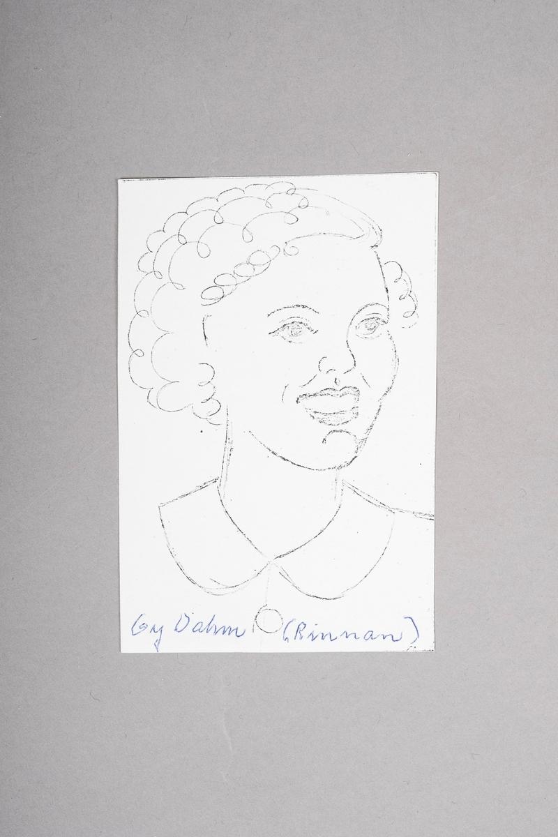 Kopi av portrett-tegning av Gry Dahm (Rinnan). Portrettet (originalen) er tegnet med blyant eller penn, og er i svart-hvitt.
