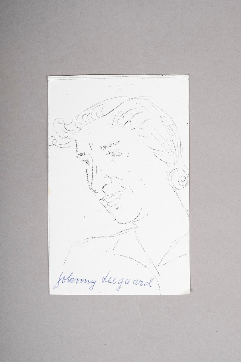 Kopi av portrett-tegning av Johanne (Jonny) Cahtrine Leegaard . Portrettet (originalen) er tegnet med blyant eller penn, og er i svart-hvitt.