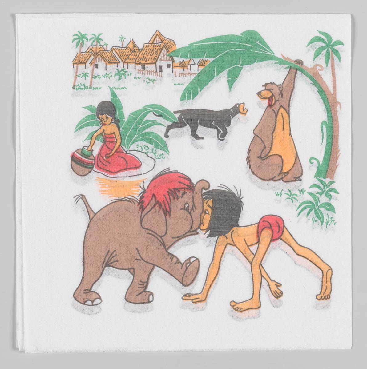 Mowgli og elefantungen støtter sammen nese mot snabbel. I bakgrunnen bjørnen Baloo, den sorte panter Bagheera og en jente fra landsbyen.  Walt Disneys animasjonsfilm Jungelboken kom i 1967.  Samme motiv på serviett MIA.00007-003-0154.