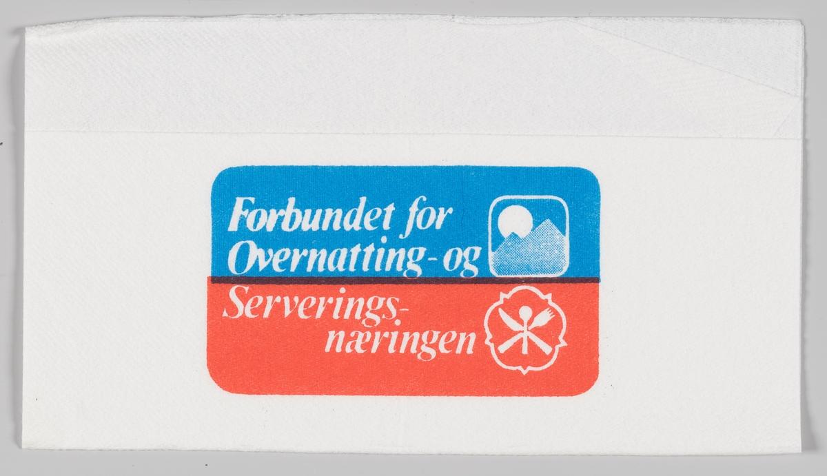 To logoer og reklametekst for Forbundet for Overnatting- og Serveringsnæringen.  Samme reklametekst på serviett MIA.00007-004-0049 og MIA.00007-004-0050.