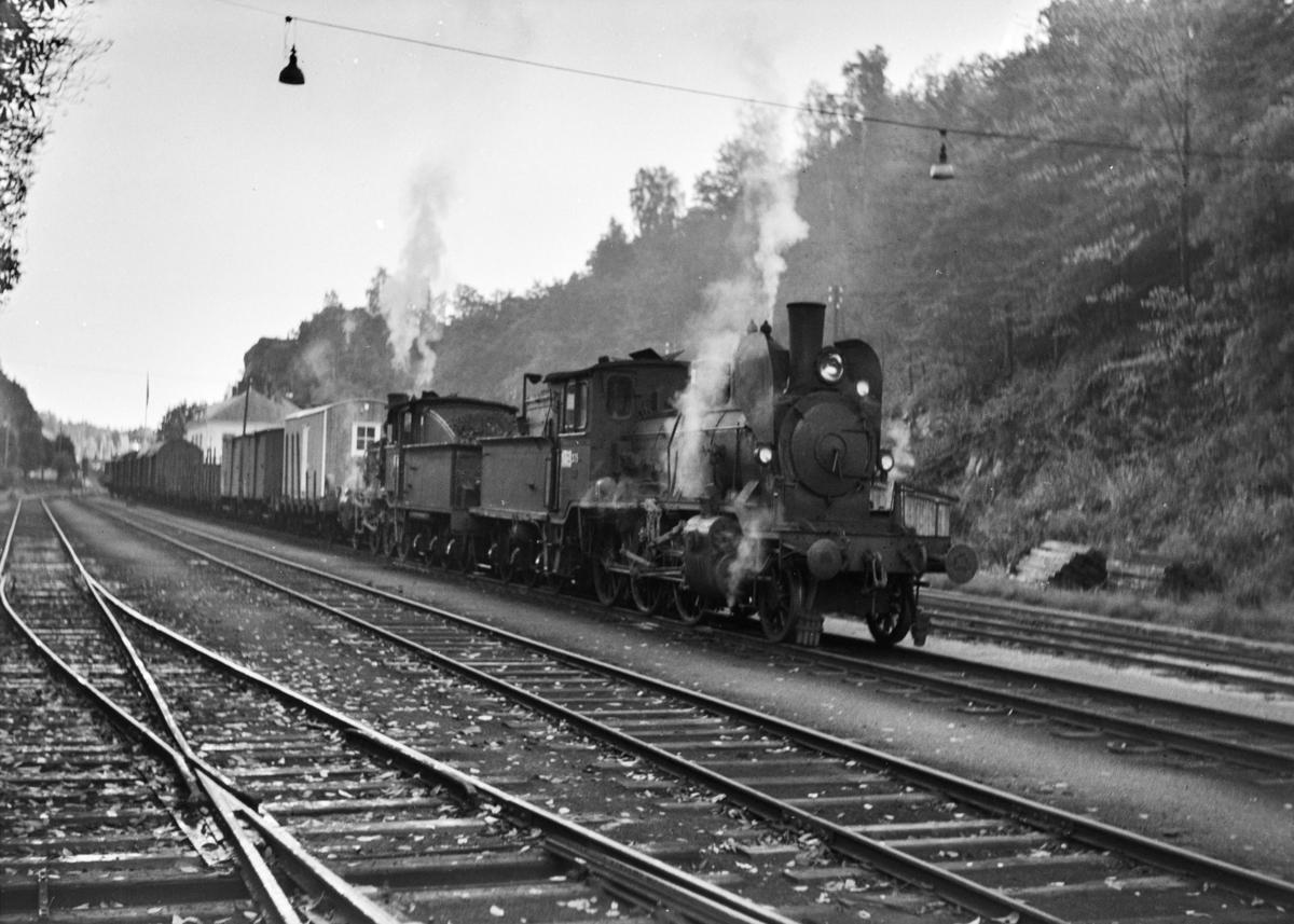 Damplokomotiv type 21b nr. 225 og 21c nr. 376 med godstog på Arendal stasjon.