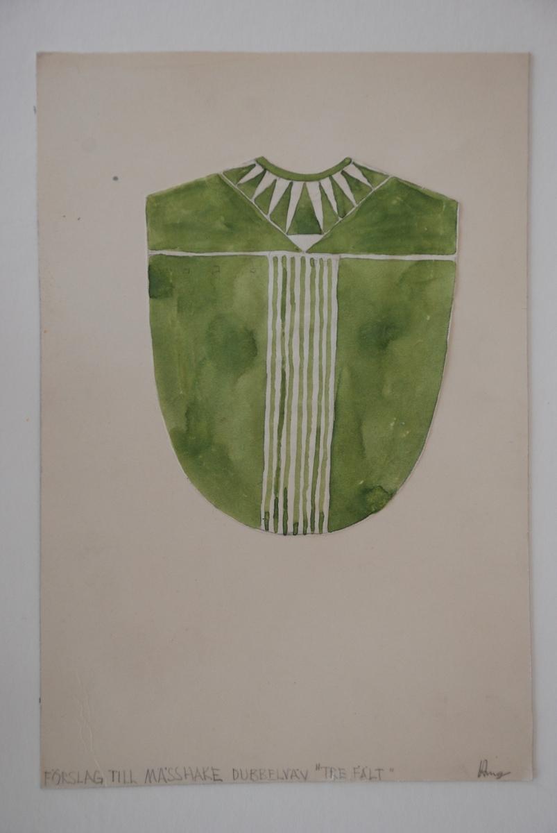 """Skisser till kyrkliga textilier komponerade av Ann Mari Gunnarsson. Mässhakar, altarbrun och antependium. """"Gåxsjö"""" står handskrivet på en av skisserna. Så sannolikt är skisserna framtagna till Gåxsjö kyrka, Strömsunds pastorat i Jämtland."""
