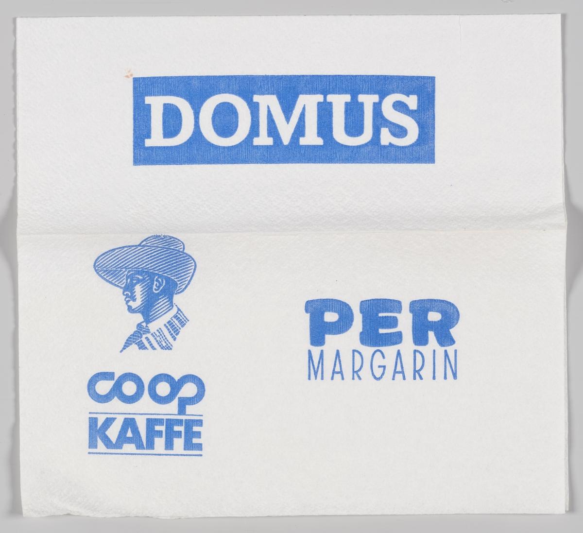 Tegning av en mann med hatt og reklame for Domus, Coop kaffe og Per magarin.  Den første DOMUS stormarked åpnet i 1968 og i 1997 ble kjedekonseptet omprofilert til Coop Obs!