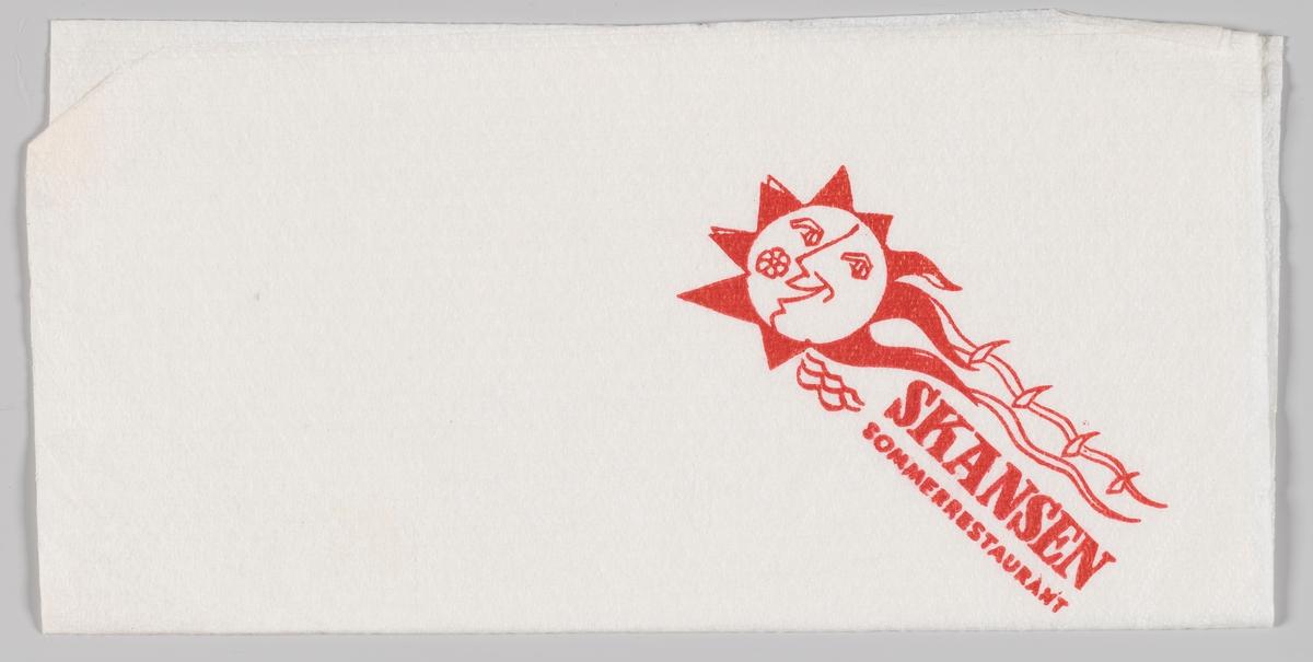 En smilende sol og reklametekst for Skansen Sommerrestaurant.  Skansen restaurant var en restaurant på Kontraskjærets skråning ned mot Pipervika i Oslo. Bygningen ble tegnet i 1926 av arkitekt Lars Thalian Backer (1892–1930) og sto ferdig i 1927. Bygningen ble revet 1970.  Samme motiv som på MIA.00007-004-0079.
