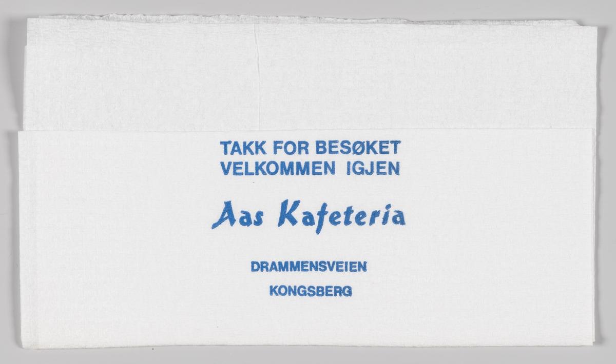 En reklametekst for Aas Kafeteria på Kongsberg.