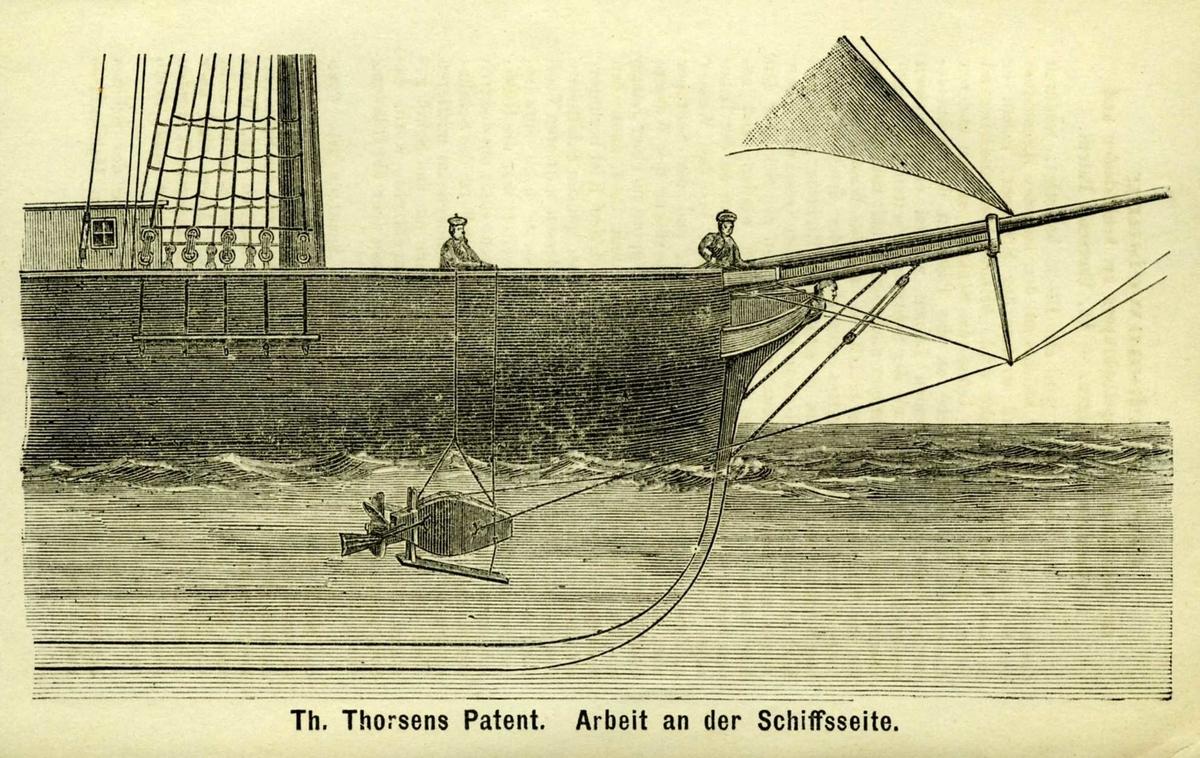 Brosjyre, Propel-Skrabe for Skibe, Th. Thorsens Patent, Arendal. Hefte med 20 sider. Ikke stiftet.   Brosjyren er illustrert med xylografier, som viser hvordan skrapen monteres med tau fra baugspydet og fra dekket.